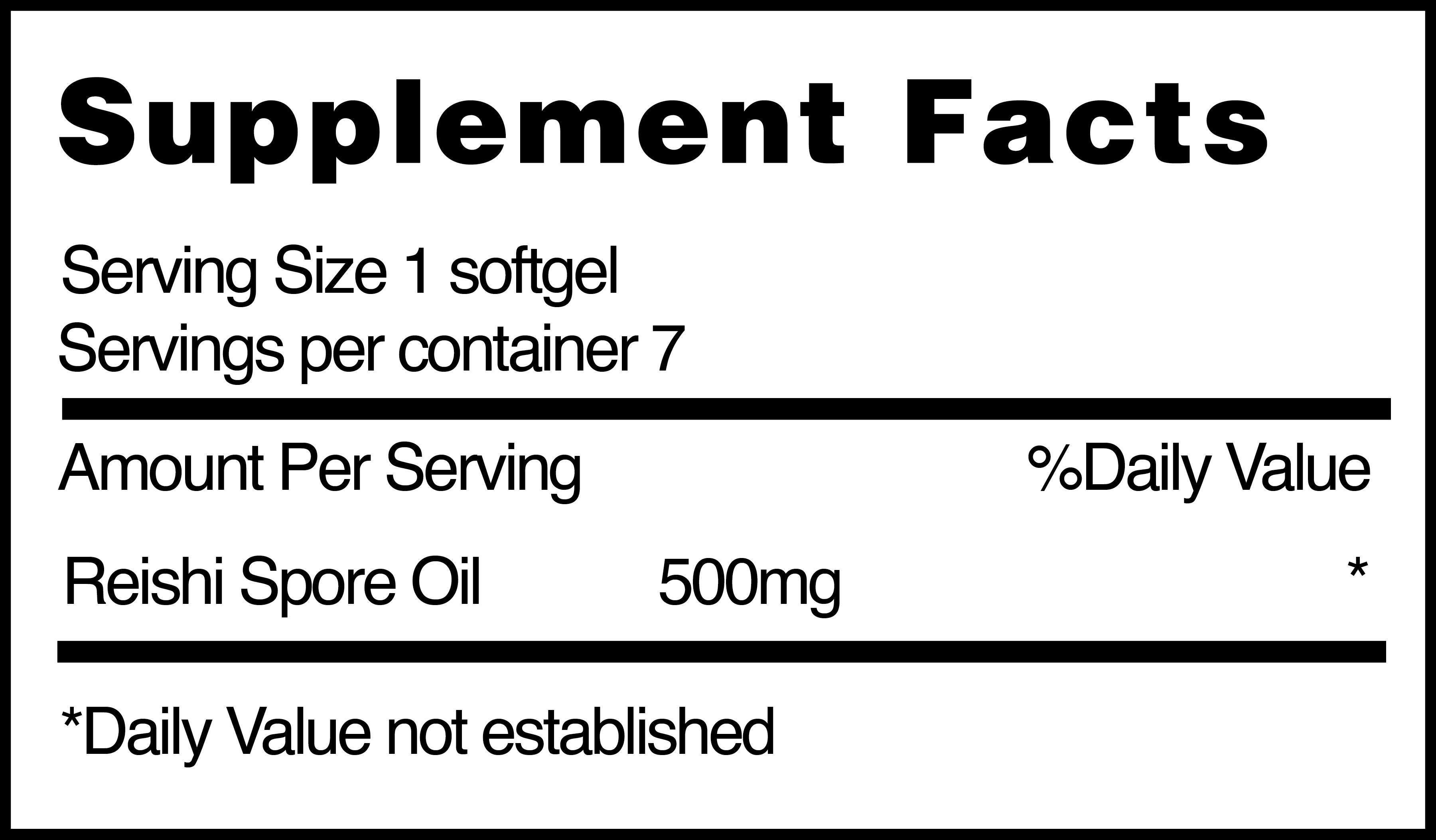 Aceite de esporas de Reishi (Reishi Spore Oil) nutrition facts