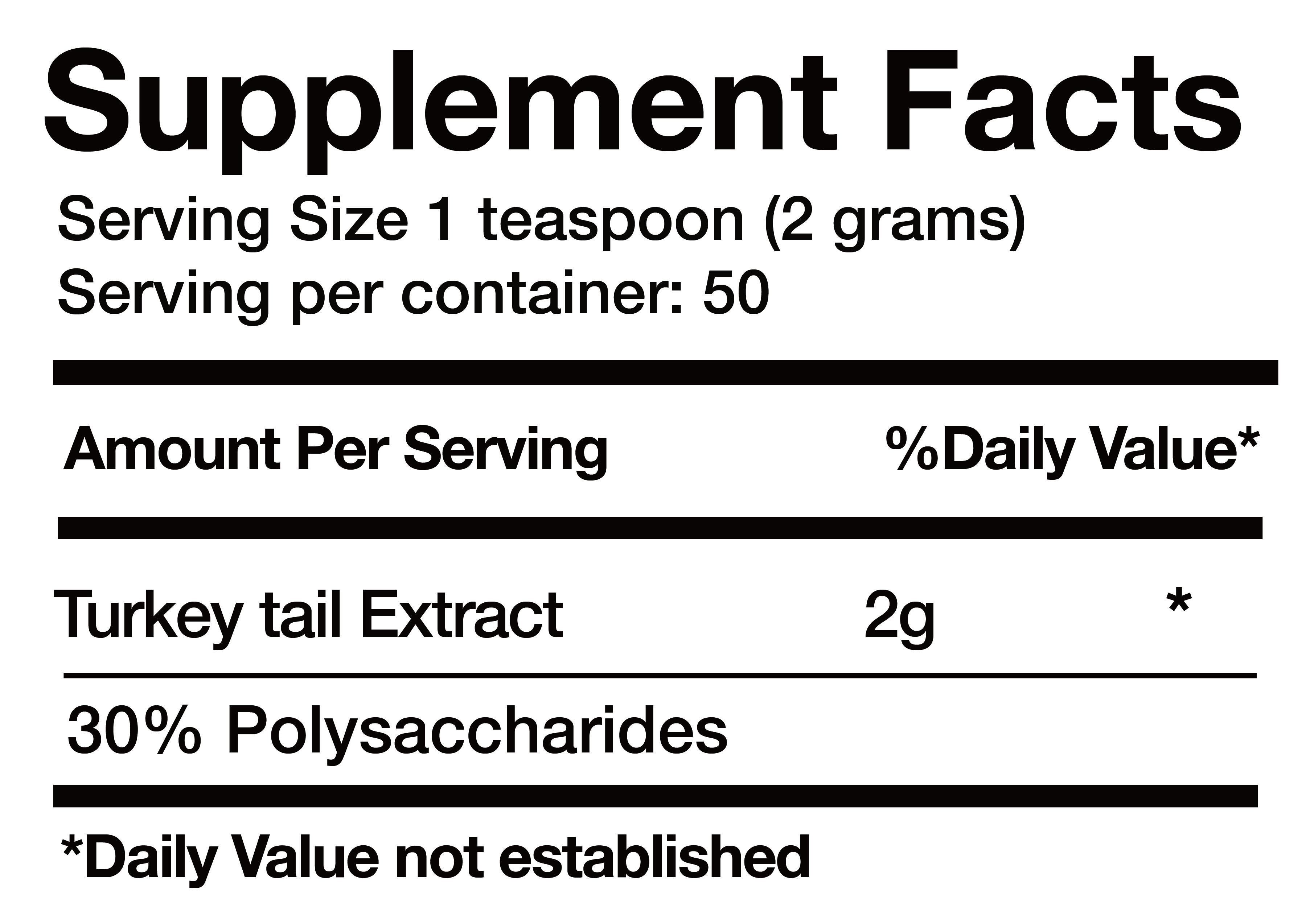 Extracto de Cola de Pavo (Turkey tail Extract) nutrition facts